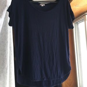 Scoop Neck Navy Shirt.